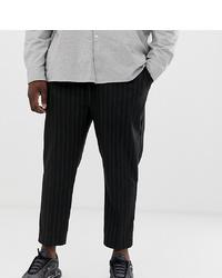 Pantalon chino à rayures verticales noir New Look
