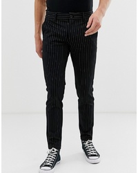 Pantalon chino à rayures verticales noir ONLY & SONS