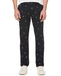 Pantalon chino brodé noir