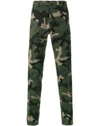 Pantalon chino camouflage vert foncé Valentino