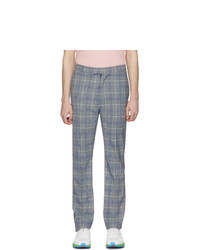 Pantalon chino écossais bleu clair