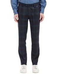 Pantalon chino écossais bleu marine et vert