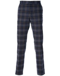 Pantalon chino écossais bleu marine