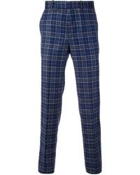 Pantalon chino écossais bleu marine Alexander McQueen