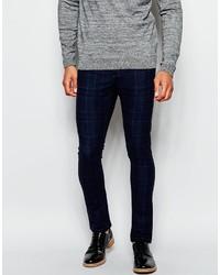 Pantalon chino écossais bleu marine Asos