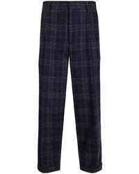 Pantalon chino écossais bleu marine Kolor