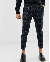 Pantalon chino écossais bleu marine Twisted Tailor