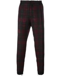 Pantalon chino écossais bordeaux