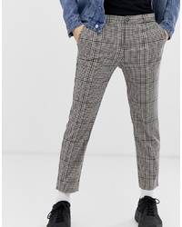 Pantalon chino écossais gris Bershka