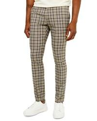 Pantalon chino écossais marron clair