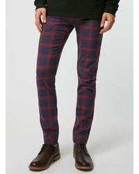 Pantalon chino écossais rouge et bleu marine