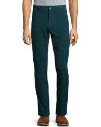 Pantalon chino écossais vert foncé