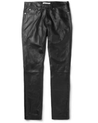 Pantalon chino en cuir noir Givenchy