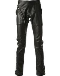 Pantalon chino en cuir noir Rick Owens