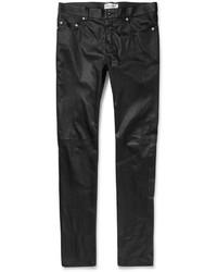 Pantalon chino en cuir noir Saint Laurent
