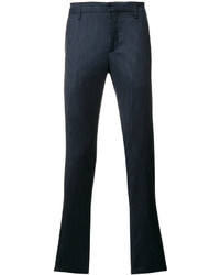 Pantalon chino en laine à carreaux bleu marine Dondup