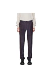 Pantalon chino en laine à carreaux bleu marine Etro
