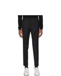 Pantalon chino en laine à carreaux bleu marine Paul Smith