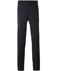 Pantalon chino en laine à carreaux bleu marine Pt01