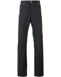 Pantalon chino en laine à carreaux gris foncé Kiton