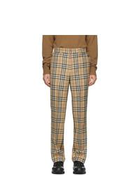 Pantalon chino en laine à carreaux marron clair Burberry
