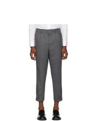 Pantalon chino en laine à chevrons gris foncé