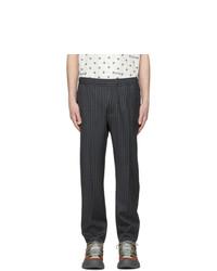 Pantalon chino en laine à rayures verticales gris foncé Gucci