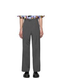 Pantalon chino en laine à rayures verticales gris foncé Prada