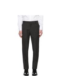 Pantalon chino en laine à rayures verticales noir et blanc Alexander McQueen