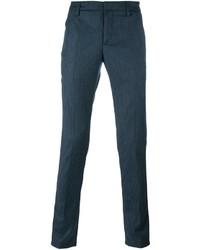 Pantalon chino en laine bleu canard