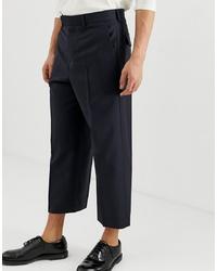 Pantalon chino en laine bleu marine ASOS DESIGN