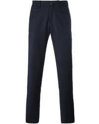 Pantalon chino en laine bleu marine Lardini