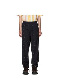Pantalon chino en laine brodé noir Tibi