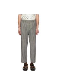 Pantalon chino en laine écossais gris Gucci