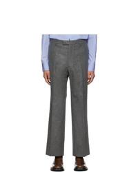 Pantalon chino en laine gris foncé Prada