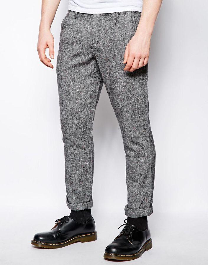 Pantalon chino en laine gris Farah