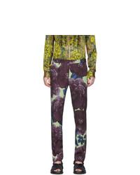 Pantalon chino en laine imprimé pourpre foncé Dries Van Noten