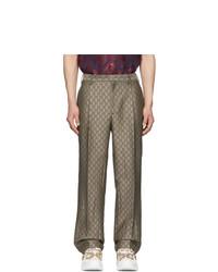 Pantalon chino en laine marron Gucci