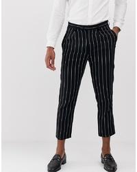 Pantalon chino en lin à rayures verticales bleu marine Devils Advocate