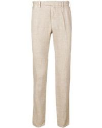 Pantalon chino en lin beige Borrelli