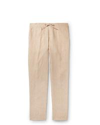 Pantalon chino en lin beige Loro Piana