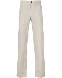 Pantalon chino en lin beige Massimo Alba