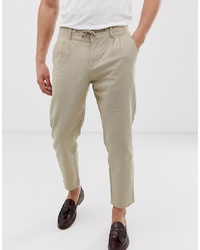 Pantalon chino en lin beige ONLY & SONS