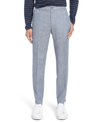 Pantalon chino en lin bleu clair