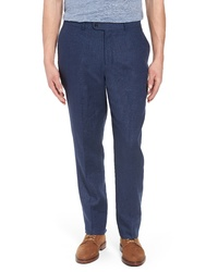 Pantalon chino en lin bleu marine