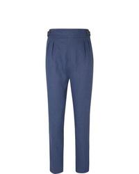 Pantalon chino en lin bleu marine Anderson & Sheppard