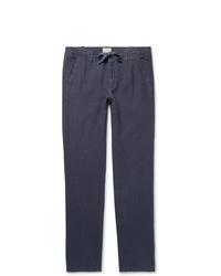 Pantalon chino en lin bleu marine Hartford