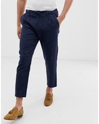 Pantalon chino en lin bleu marine ONLY & SONS