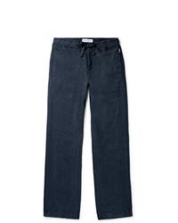 Pantalon chino en lin bleu marine Orlebar Brown