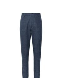 Pantalon chino en lin bleu marine Zanella